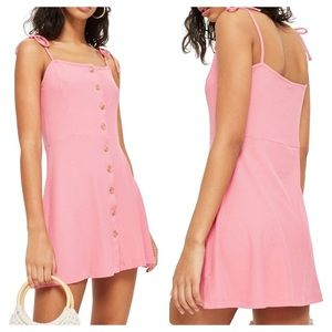 Topshop Button Down Rib Mini Dress Pink